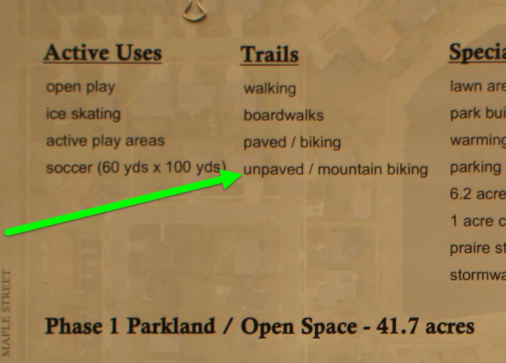 Meadows Park Concept Plans: unpaved/mountain biking trails